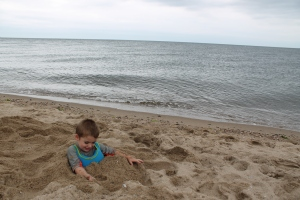 Sawyer managed to get himself buried in the sand again.